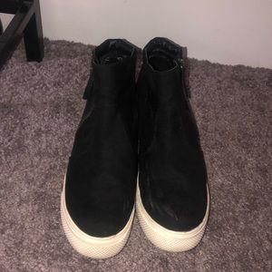 Shoes - Black platform high top suede sneakers